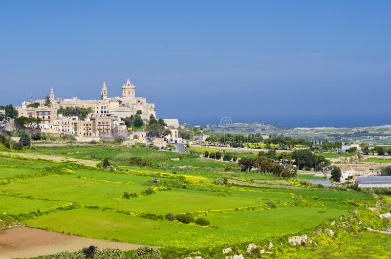 Odległy widok Mdina, ograniczenia Rabat Malta obraz royalty free
