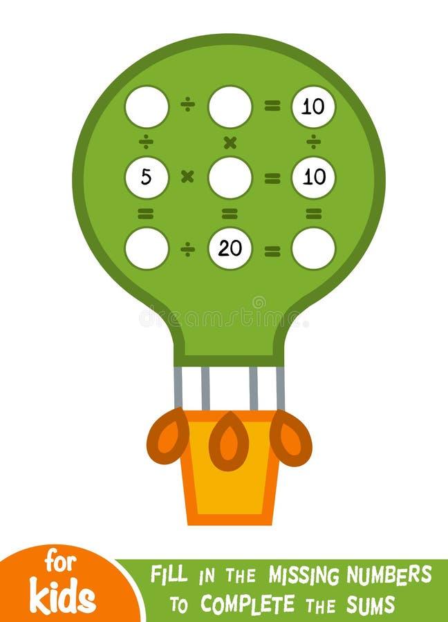 Odliczająca gra dla dzieci Edukacyjny matematycznie gra royalty ilustracja