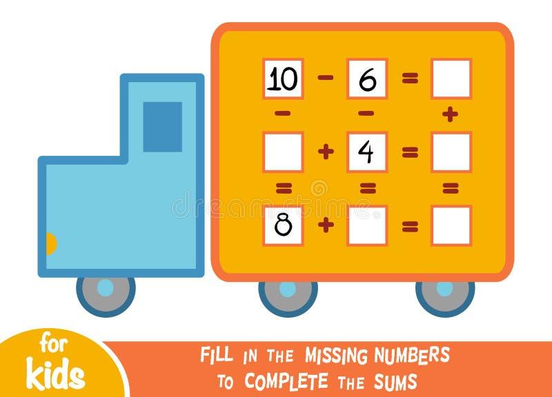 Odliczająca gra dla dzieci Edukacyjny matematycznie gra ilustracji