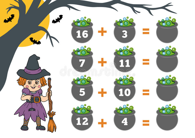 Odliczająca gra dla dzieci Halloweenowi charaktery, czarownica royalty ilustracja