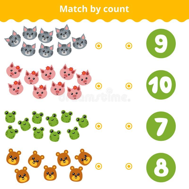Odliczająca gra dla dzieci Hrabiowscy zwierzęta w obrazku ilustracji
