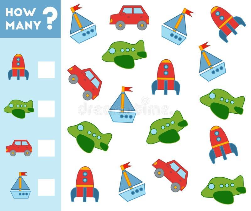 Odliczająca gra dla dzieci Liczy co przewiezeni przedmioty ilustracji