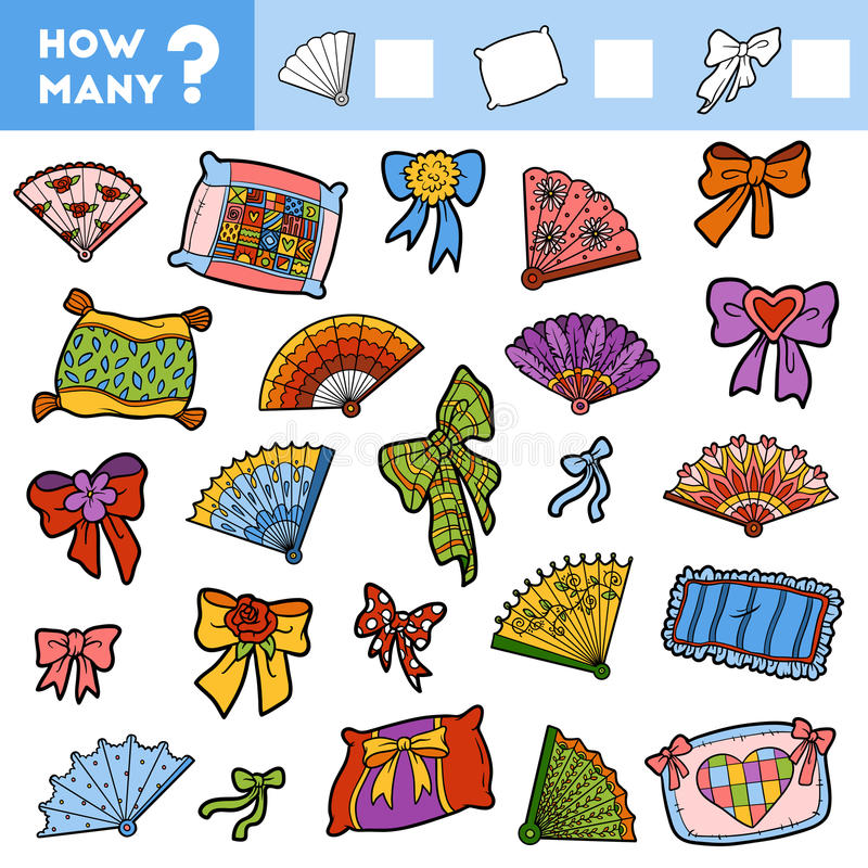 Odliczająca gra dla dzieci Liczy ile rzeczy ilustracja wektor