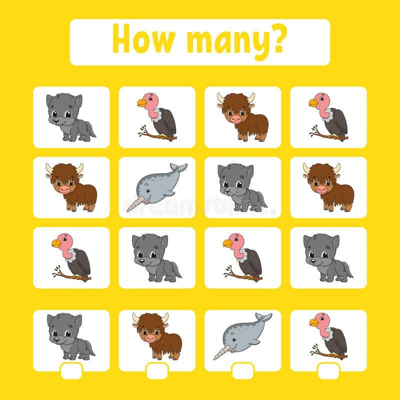 Odliczająca gra dla dzieci preschool wiek uczenie matematyki Ile zwierząt w obrazku Z przestrzenią dla odpowiedzi prosty royalty ilustracja