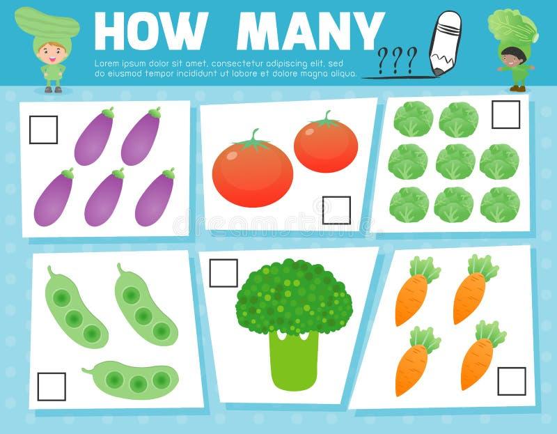 Odliczająca gra dla Preschool dzieci, gra dla dzieciaków, uczenie mathematics, Edukacyjny matematycznie gra, Co ilustracja wektor