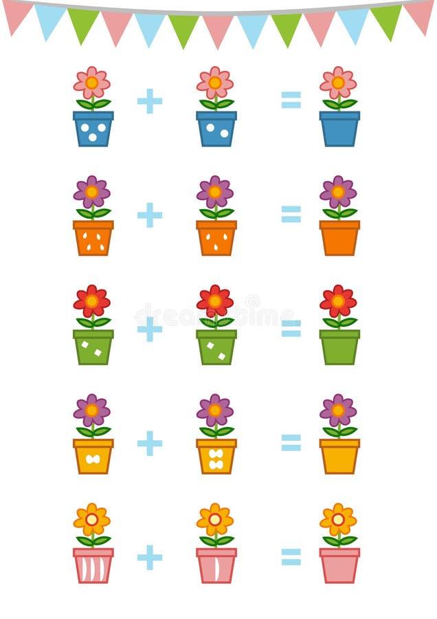 Odliczająca gra dla Preschool dzieci Kwiaty ilustracji