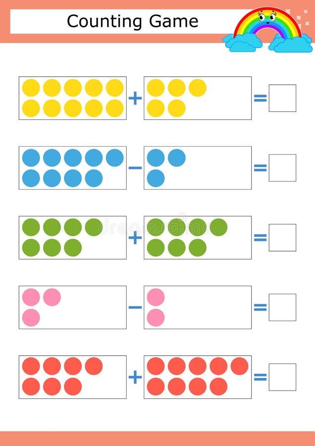 Odliczająca gra dla Preschool dzieci Nauka mathematics Dodatek i odejmowanie niebieskie oczy, piaskowe kręgi Z miejscem dla odpow ilustracji