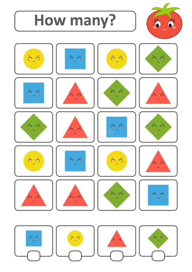 Odliczająca gra dla Preschool dzieci Nauka mathematics Ile kształtów w obrazku Okrąg, kwadrat, rhombus, t ilustracji