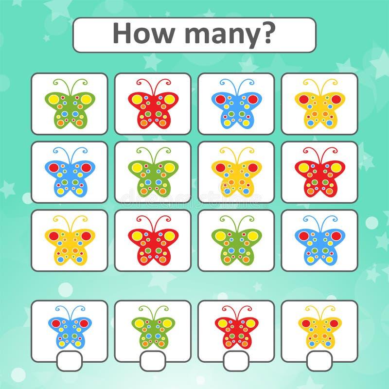 Odliczająca gra dla preschool dzieci dla rozwoju matematycznie zdolność Liczy liczbę motyle w obrazku ilustracja wektor