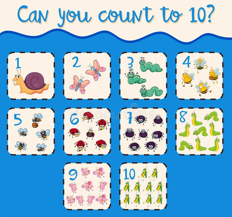 Odliczająca liczba jeden, dziesięć z insektami ilustracji