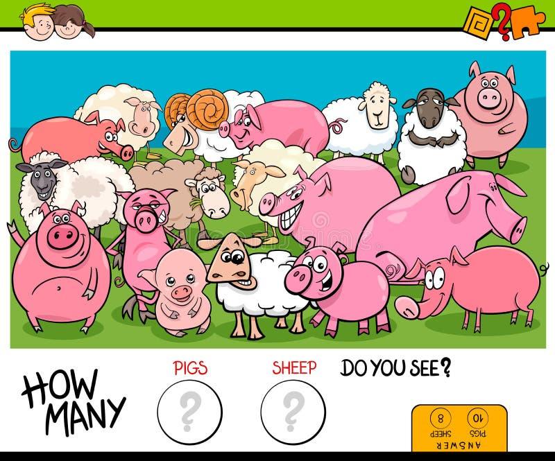 Odliczające świnie i barania edukacyjna gra dla dzieciaków ilustracja wektor