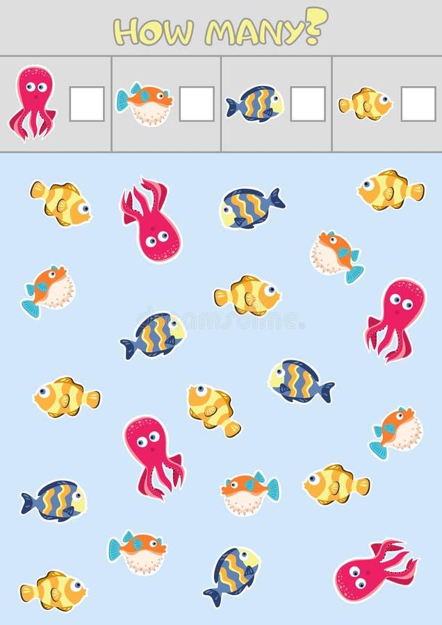 Odliczające dziecka ` s edukacyjne gry, dziecka ` s prześcieradło Ile przedmiotów zadanie, morski życie, denny temat royalty ilustracja