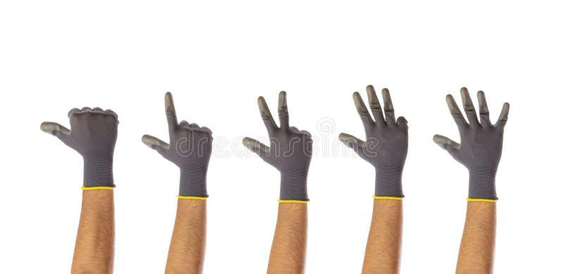 Odliczające męskie gloved ręki odizolowywać na białym tle obrazy stock