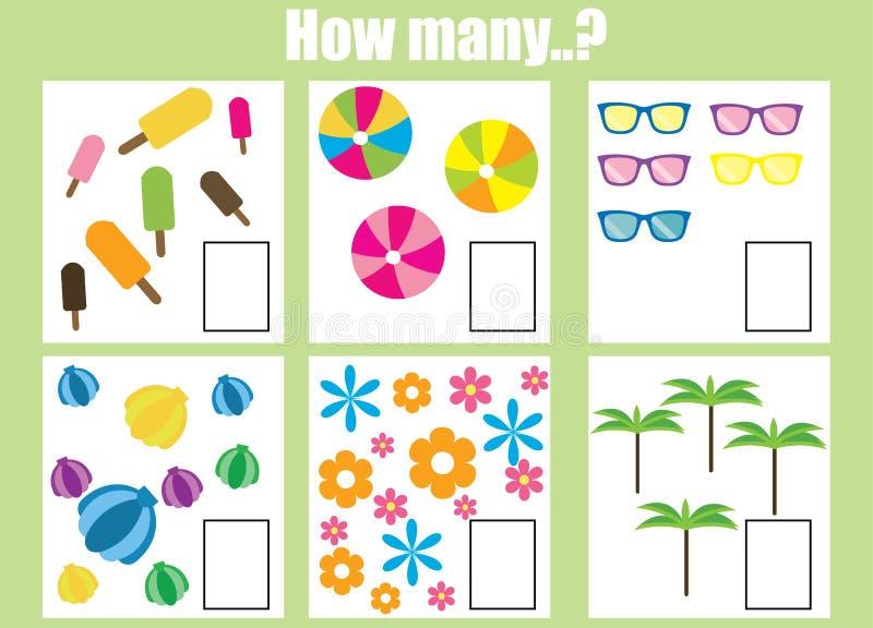 Odliczający edukacyjni dzieci gemowi Ile przedmiotów dają zadanie ilustracja wektor