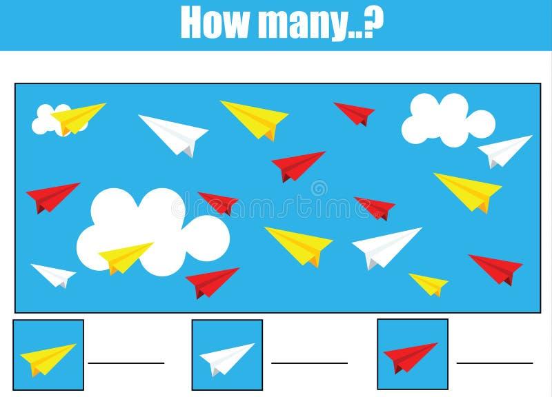 Odliczający edukacyjni dzieci gry, dzieciak aktywność Ile przedmiotów dają zadanie royalty ilustracja