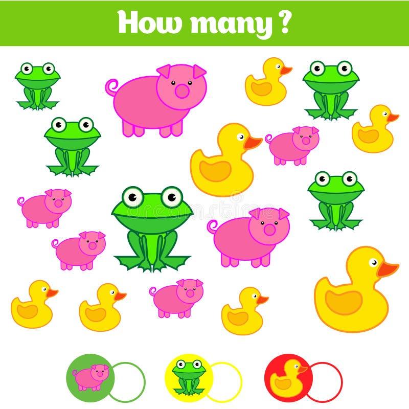 Odliczający edukacyjni dzieci gry, dzieciak aktywności prześcieradło Ile przedmiotów dają zadanie Uczenie mathematics, liczby ilustracja wektor
