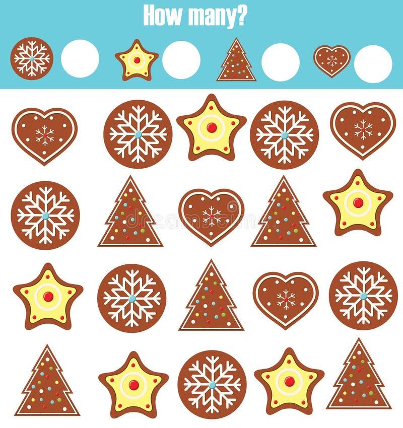 Odliczający edukacyjni dzieci gry, matematyka żartują aktywność Ile przedmiotów dają zadanie Boże Narodzenia, zima wakacji temat royalty ilustracja