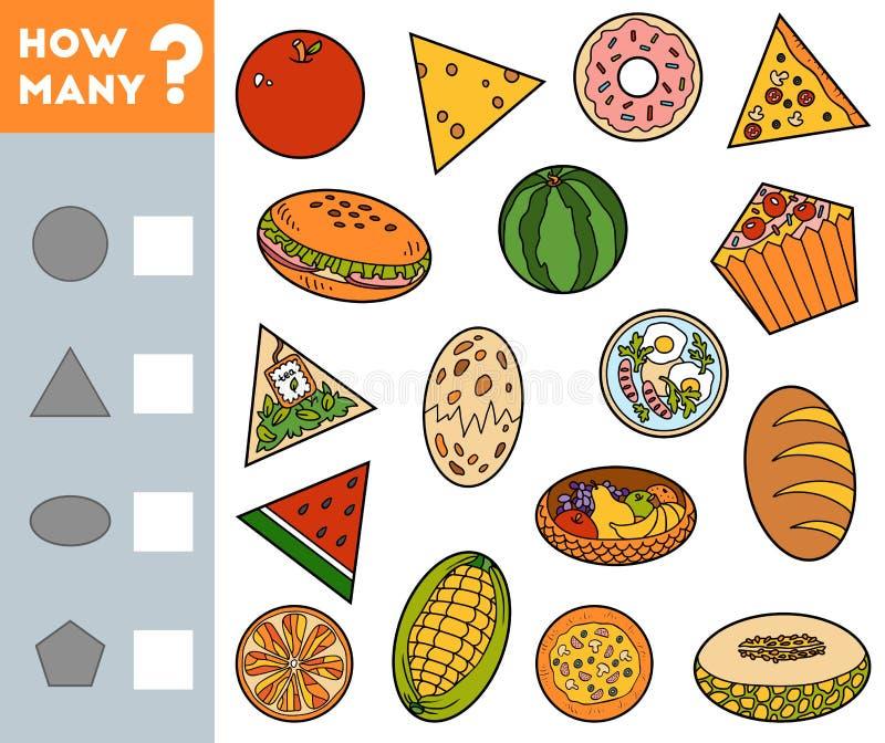 Odliczaj?ca gra dla dzieci Edukacyjny matematycznie gra Liczy ile przedmiotów różni kształty pisze rezultatowi i ilustracji