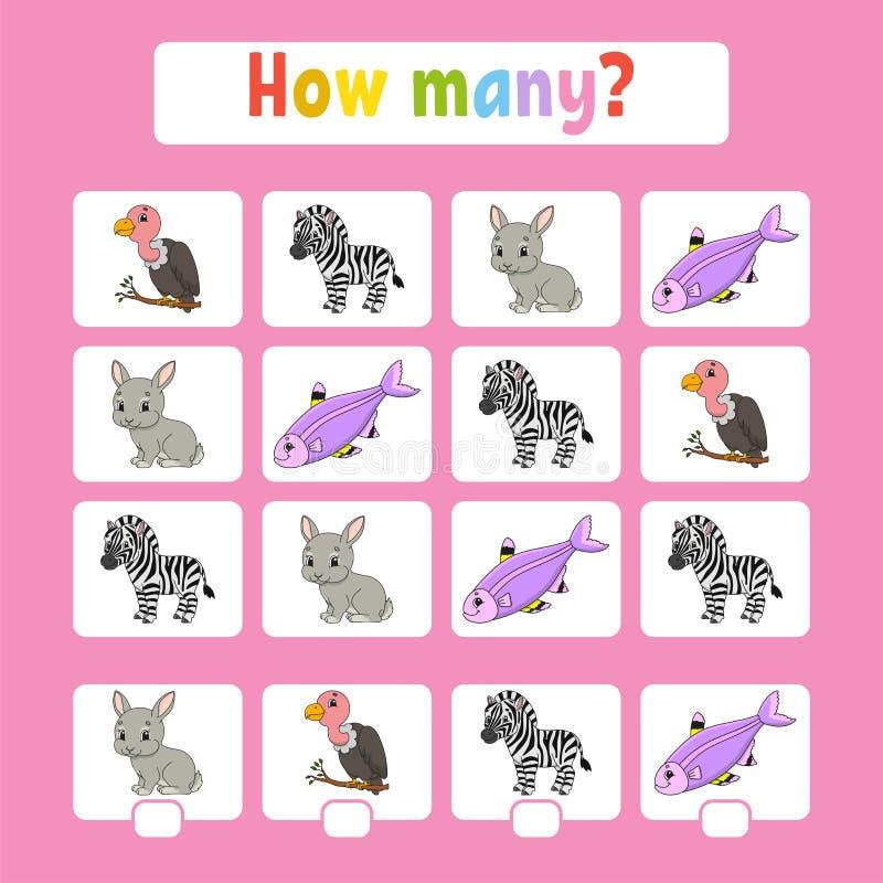 Odliczaj?ca gra dla dzieci preschool wiek uczenie matematyki Ile zwierz?t w obrazku Z przestrzeni? dla odpowiedzi prosty royalty ilustracja