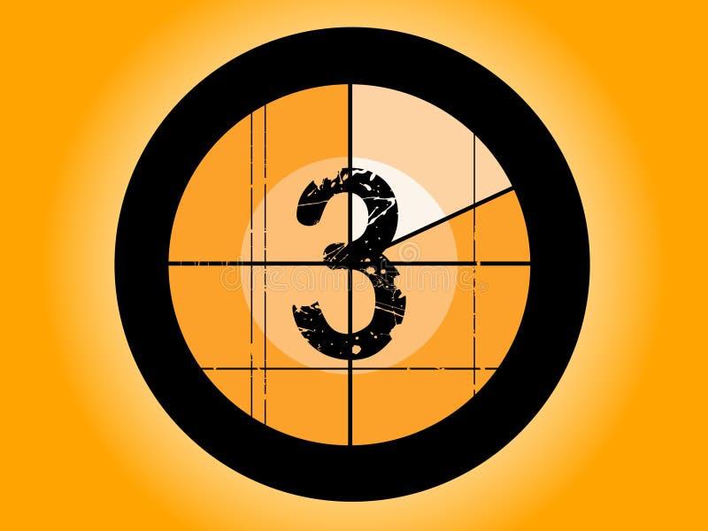 odliczanie 3 pomarańczę filmu ilustracja wektor