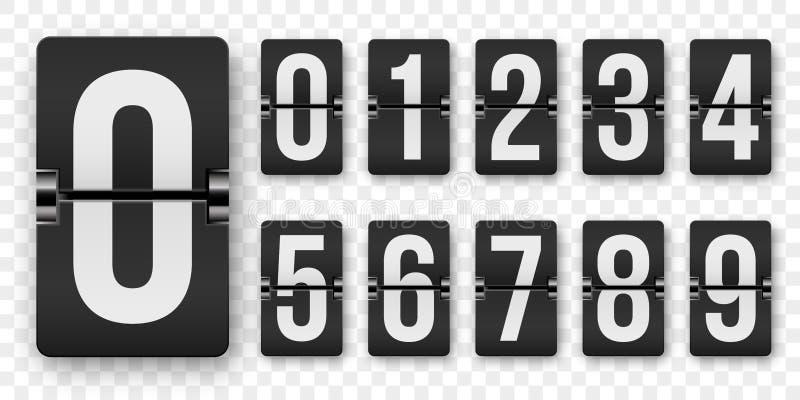 Odliczanie liczb trzepnięcia kontuaru wektor odizolowywający set Retro stylowy trzepnięcia tablica wyników lub zegaru liczb machi royalty ilustracja