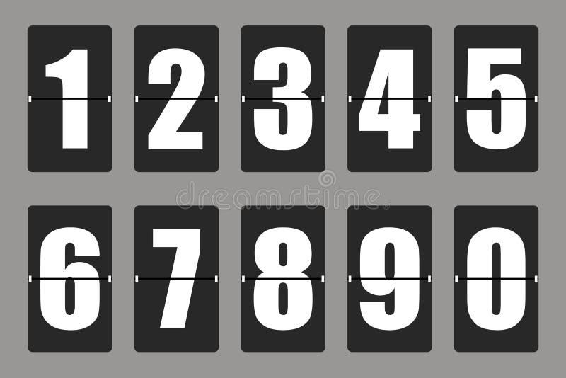 Odliczanie zegar, białego koloru machinalna tablica wyników z różnymi liczbami również zwrócić corel ilustracji wektora royalty ilustracja