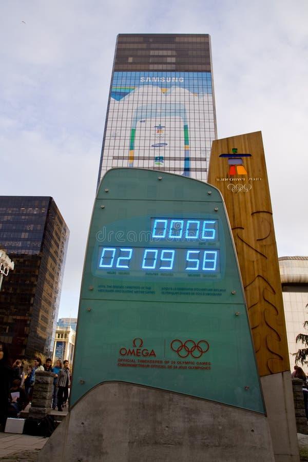 Odliczanie zegar w leadup 2010 zim olimpiad, Vancouver obraz royalty free