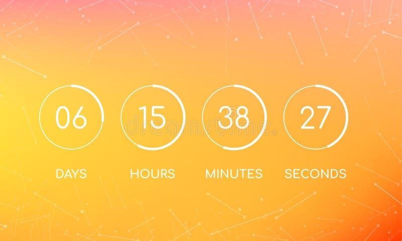 Odliczanie zegaru deska dla przychodzić wkrótce stronę ilustracji