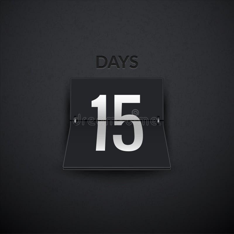 Odliczanie zegaru dni odpierający Trzepnięcie zegaru wektorowy szablon Pokaz informacja dni Tablicy wyników informacja ilustracji