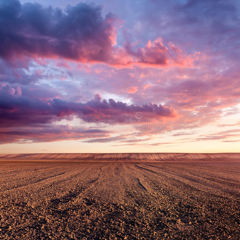 Odlingsmark- och molnbildande på solnedgången arkivfoto