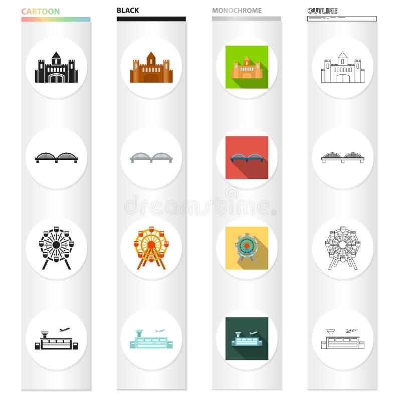 Odlot, infrastruktura, podróże i inna sieci ikona w różnym stylu, samolot, lotnisko, pasek, ikony w ustalonej kolekci ilustracji