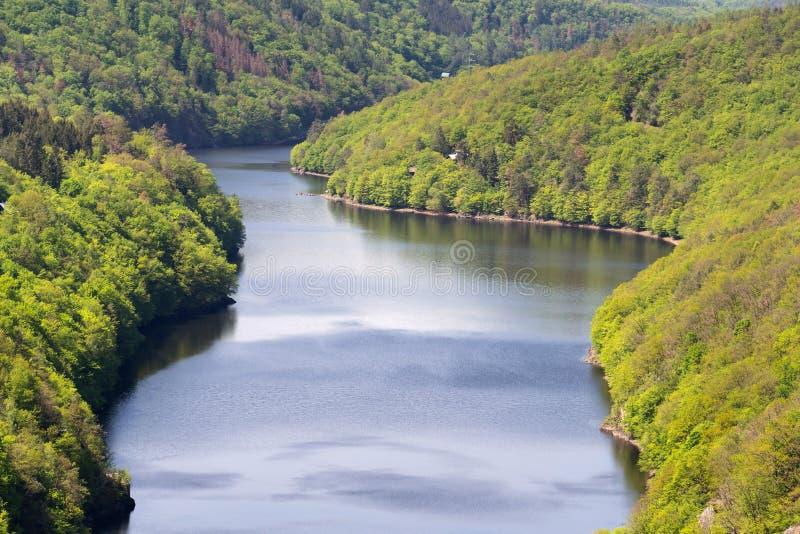 Odludna piękna chałupa, szalet chujący w breathtaking zielonych drewnach nad bankami rzeka, spokój wody powierzchnia, natura kraj zdjęcia royalty free