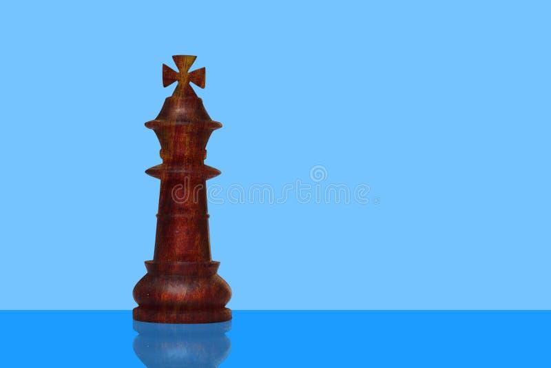Odludny królewiątko kawałek od szachy setu robić drewno Szachowy mistrzostwo zdjęcia royalty free
