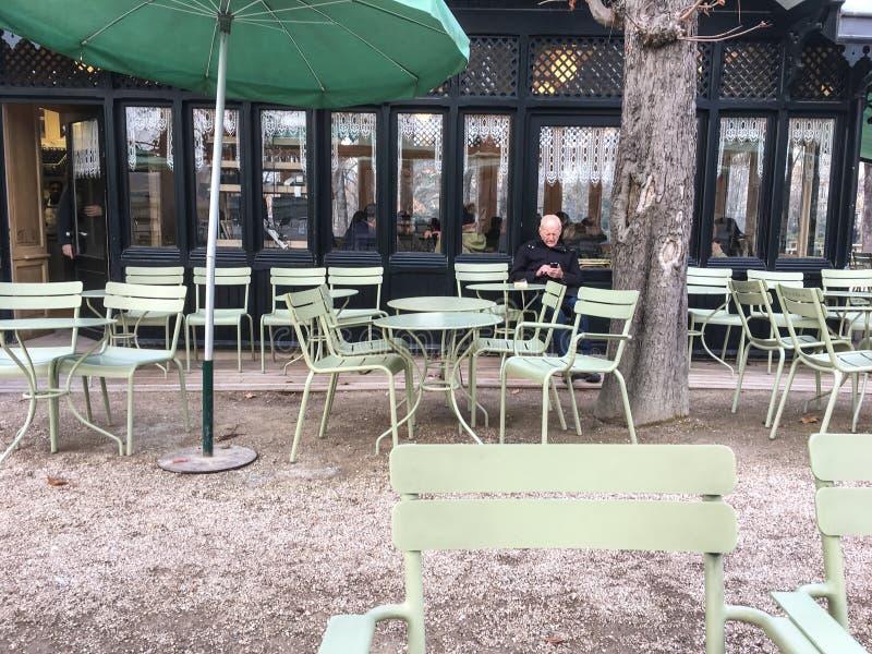 Odludny mężczyzna siedzi wśród cukiernianych stołów i krzeseł przy plenerową kawiarnią w Jardin de Luksemburg, Paryż, Francja obraz royalty free