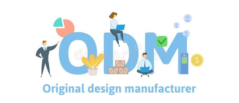 ODM, ursprünglicher Entwurfs-Hersteller Konzept mit Schlüsselwörtern, Leuten und Ikonen Flache Vektorillustration Lokalisiert auf stock abbildung