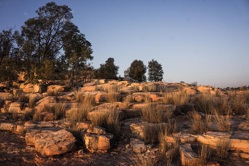 Odmierzona piaskowcowa faleza w złotym zmierzchu świetle obraz royalty free