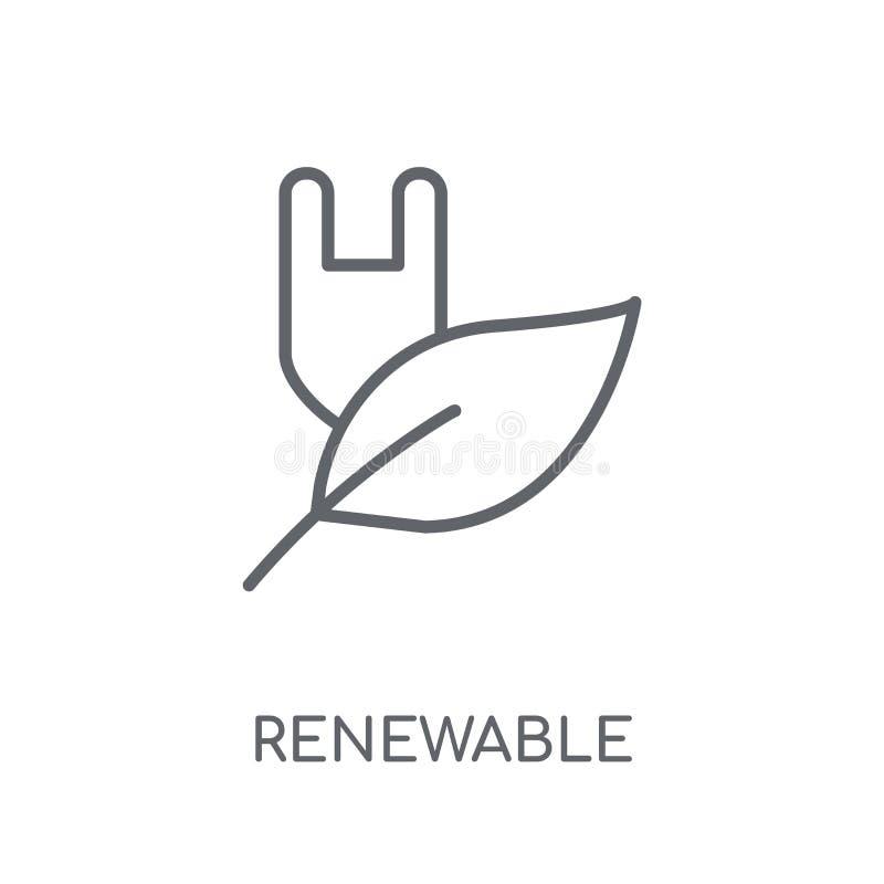 Odnawialna liniowa ikona Nowożytnego konturu logo Odnawialny pojęcie dalej ilustracji