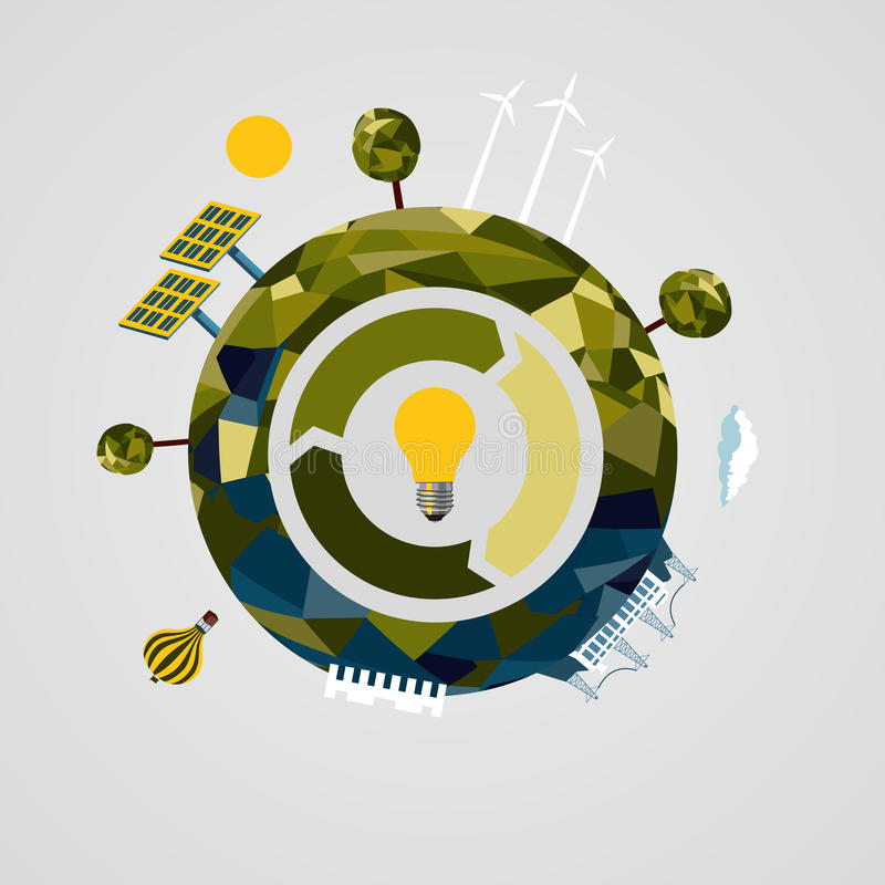 Odnawialny władzy pojęcie Alternatywny energetycznych źródeł znak royalty ilustracja