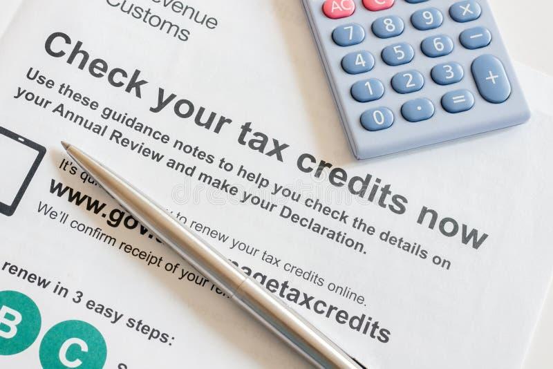 Odnawianie pracuje kredyty podatkowych zdjęcie royalty free