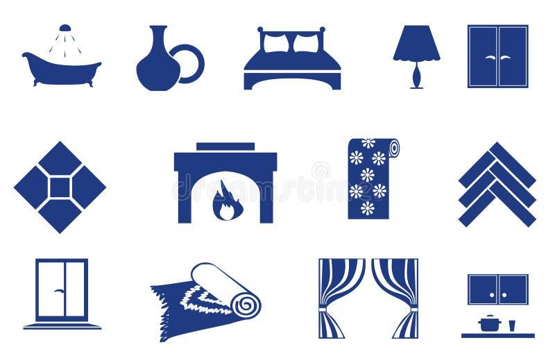 odnosić sie ikony domowy wnętrze ilustracji