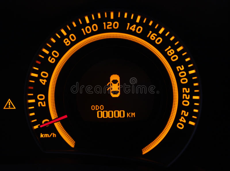 Odometer. Of the new car at zero royalty free stock photo