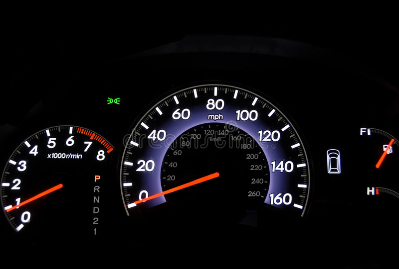 Odometer. Closeup shot of an automobile odometer at night royalty free stock photography