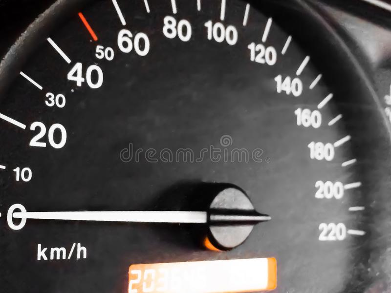 Odometer. Close-up of the odometer on a European car royalty free stock photography