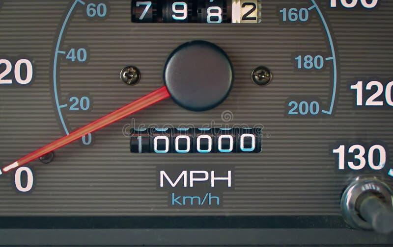 Odometer hits 100,000 miles royalty free stock photos