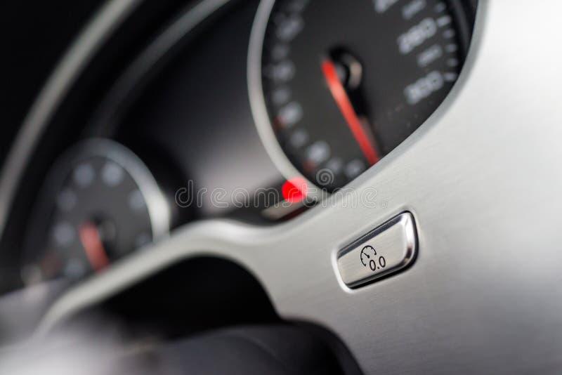 Odometer to zero button. The odometer to zero button,luxury sport car interior stock photos