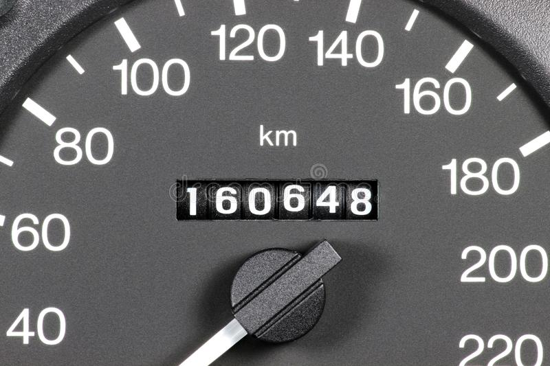 Odometer of used car. Showing mileage of 160648 km royalty free stock photos