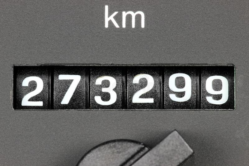 Odometer of used car. Showing mileage of 273299 km royalty free stock images