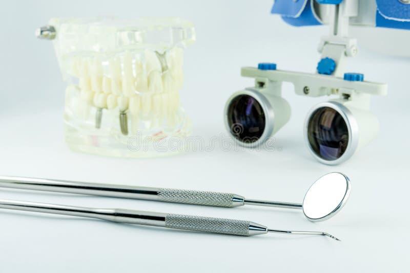Odontología binocular de las lupas Uso de la óptica en el treatme imagen de archivo libre de regalías