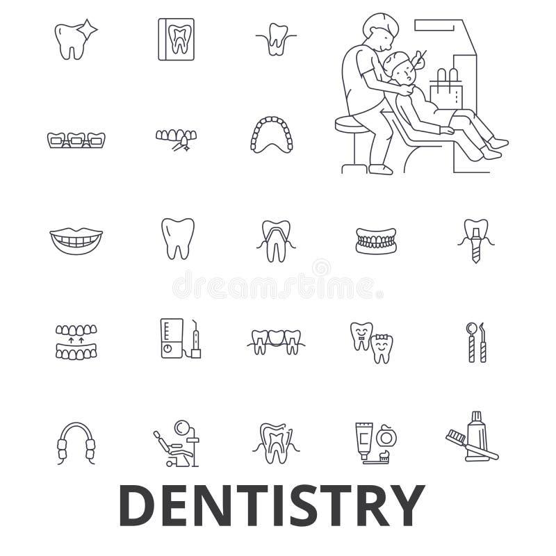 Odontología, dentista, cuidado dental, dental, oficina del dentista, dientes, sonrisa, línea iconos del implante Movimientos Edit ilustración del vector