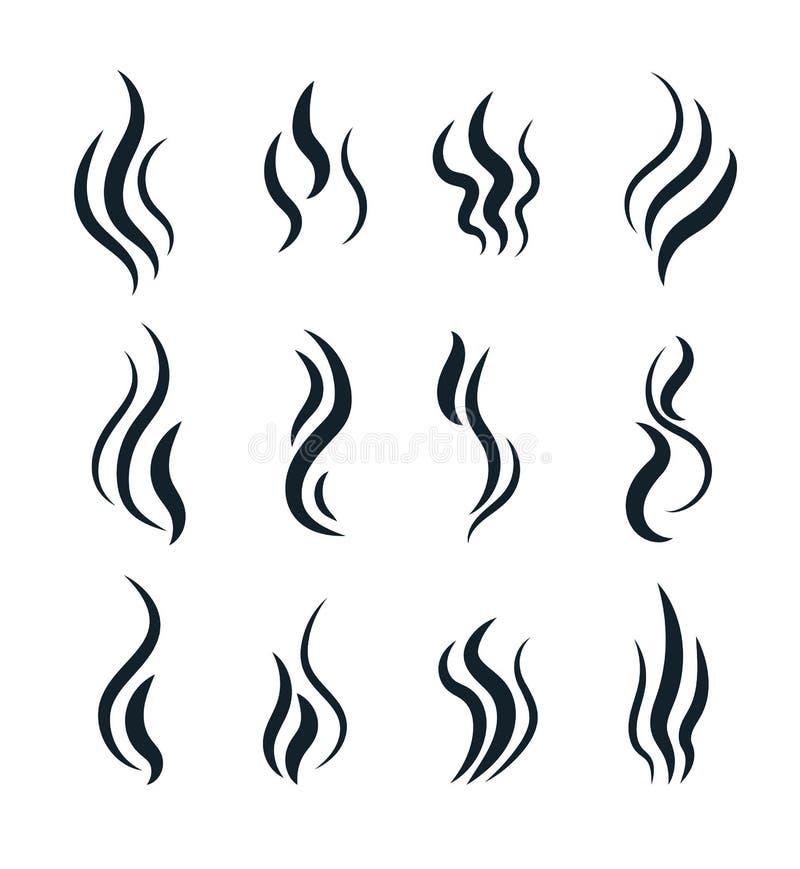 Odorów symbole Grzejni piktogramy, gotuje kontrpara ciepłego aromat wąchają smród ocenę, parujący opary dym, zapachu fetor royalty ilustracja